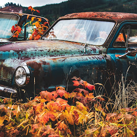 Fall in the Wrecking Yard by Earl Heister - Transportation Automobiles (  )