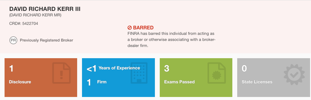 David Richard Kerr III FINRA BARRED