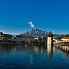 by Phil Bear - City,  Street & Park  Vistas ( mountains, lucerne, city, switzerland, river )