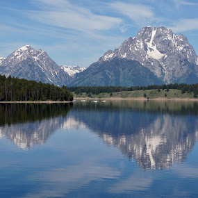 Mount Moran Reflection by Jim Czech - Landscapes Mountains & Hills ( reflection, mountain, national parks, mount moran, grand teton, , reflections, mirror, relax, tranquil, relaxing, tranquility )