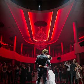 Bride and Groom in their best dance by Sabin Malisevschi - Wedding Bride & Groom ( love, red, touch, location, happy, wedding, feeling, beautiful, bride, groom )