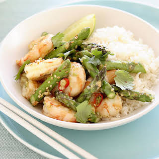 Stir-Fried Tiger Prawns with Asparagus and Sesame.