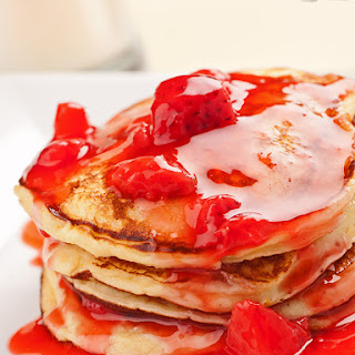 Fluffy Ricotta Pancakes with Strawberry-Orange Sauce Recipe