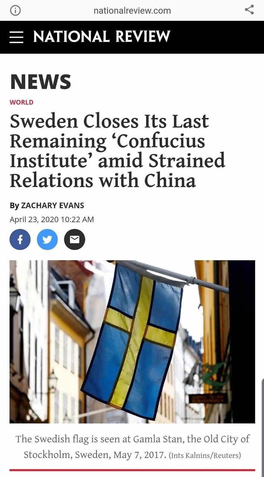 Ảnh: Cờ Thụy Điển tại Gamla Stan, Thành phố cổ Stockholm, Thụy Điển, ngày 7 tháng 5 năm 2017. (Ints Kalnins / Reuters)