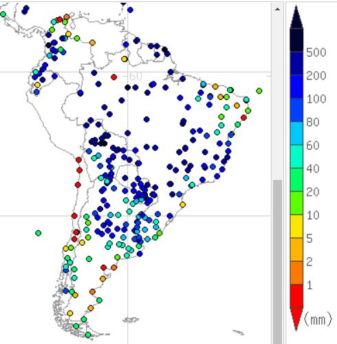 2017年12月南米の降水量マップ