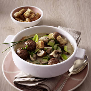 Mushroom and Leek Soup with Meatballs.