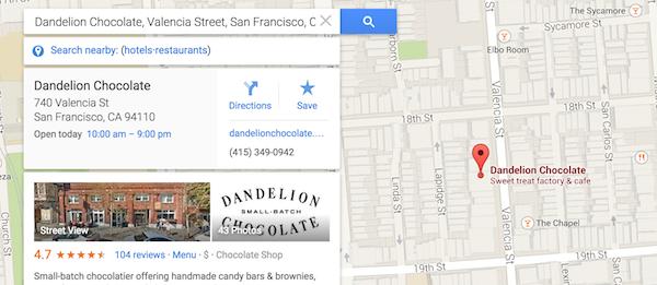 aperçu résultat fiche Google My Business dans google maps