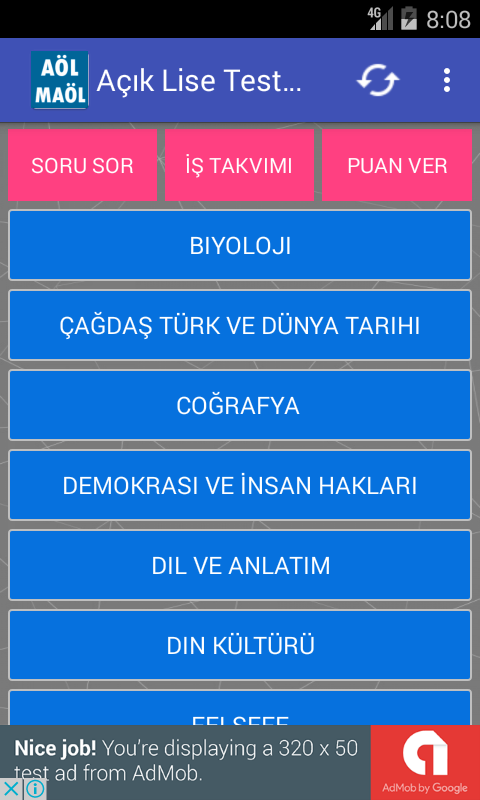 Açık Lise Test Çöz- screenshot