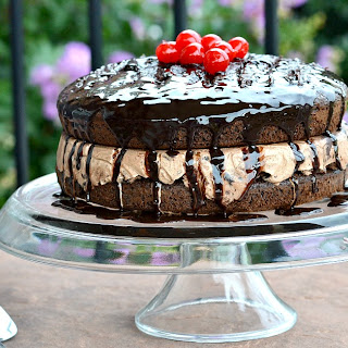 Chocolate Lover's Gooey Ice Cream Cake.