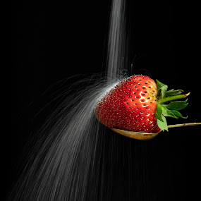 Sugar waterfall by Tony Wilson - Food & Drink Fruits & Vegetables ( sugar waterfall, strawberry, food photography, sugar, food )