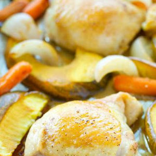 Maple-Dijon Roast Chicken with Acorn Squash + Carrots