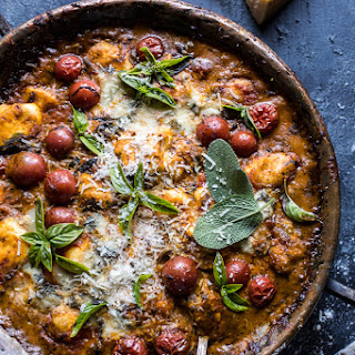 One-Pan Spinach and Cheese Gnocchi with Roasted Garlic Tomato Cream Sauce..