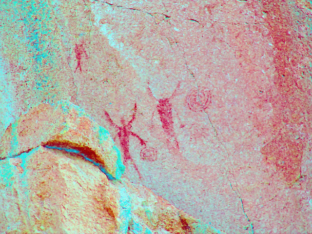 Badly faded pictographs (DStretch enhanced)