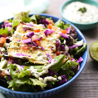 Grilled Halibut Salad with Avocado Aioli.