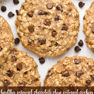 Healthy Caramel Chocolate Chip Oatmeal Cookies.