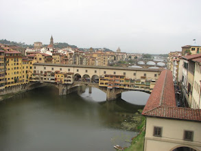 Photo: Ponte Vecchio, another view. Lower right is the covered, fortified walkway the Medicis used to commute to work. It runs from the Plazza Vecchio to the Ufuzzi and across the Ponte Vecchio to the Pitti Palace.