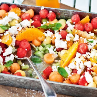 Watermelon, Rockmelon And Goat's Cheese Salad