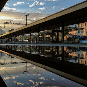 No End In Sight by Jessica Meckmann - Instagram & Mobile iPhone ( reflection, puddleizer, goldau, trainstation, iphone )