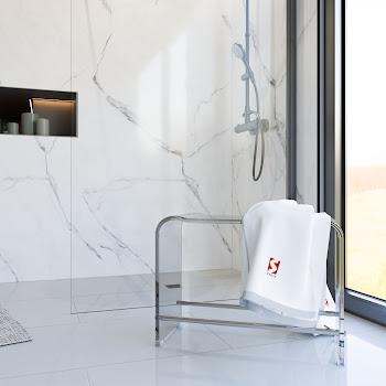 Tabouret de douche XXL, acrylique transparent, 47,7 x 65 x 27,5 cm