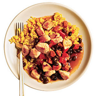 Rice and Beans with Chicken and Chorizo.
