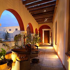 Azaleas hall by Cristobal Garciaferro Rubio - Buildings & Architecture Architectural Detail ( hall, sunset, walker, azaleas, arcade )