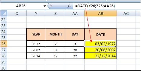 Rumus Microsoft Excel DATE