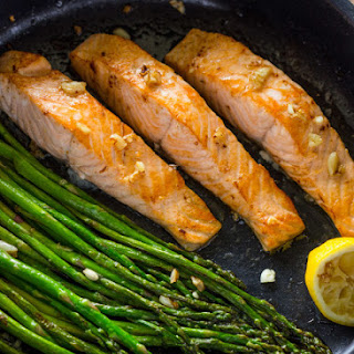 One Pan Lemon Garlic Salmon and Asparagus