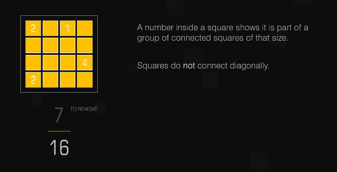 "A yellow grid puzzle against a black background. It explains, ""A number inside a square shows it is part of a group of connected squares of that size. Squares do NOT connect diagonally."
