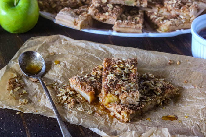 Apple Pie Pancake bars on crumbled parchment paper