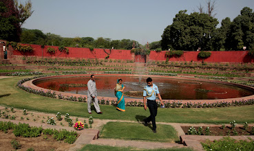 Photo: President Pratibha Patil  with her Husband Devi singh Shekhawat during her morning walk at Mugal Garden of Rashtrapati Bhawan. Indian Express Photo.