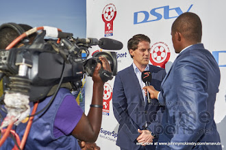 Photo: Coach McKinstry speaks with SuperSport about the win [Rwanda vs Sudan, CECAFA 2015, Semi final, 3 Dec 2015 in Addis Ababa, Ethiopia.  Photo © Darren McKinstry 2015, www.XtraTimeSports.net]