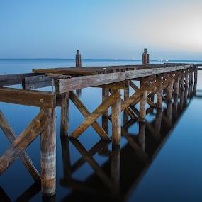 Silence Lake by George Bloise - Landscapes Sunsets & Sunrises ( reflection, harbor, florida, lake, bridge, sunrise, river )