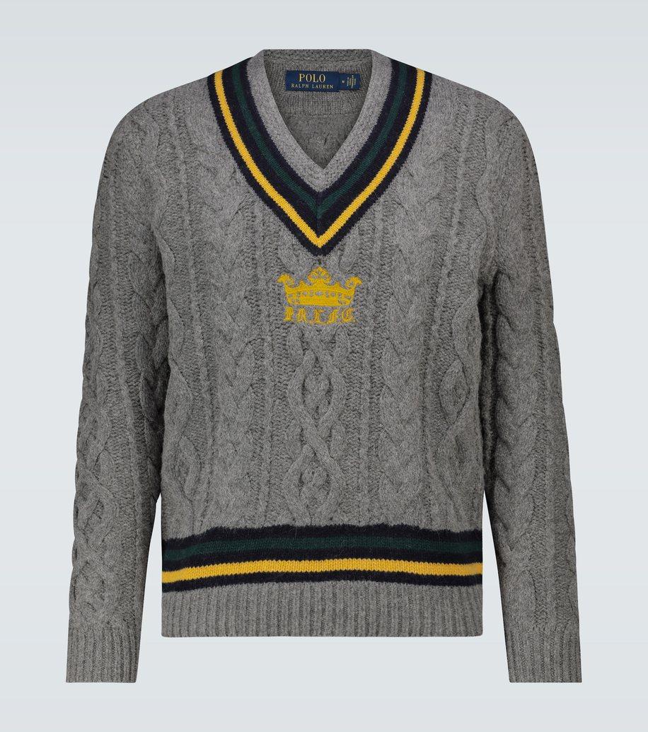 ralph lauren sweater embroidered grey modesens