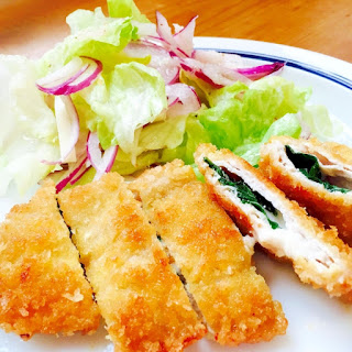 Layered Sliced Pork Cutlets (Tonkatsu) with Shiso and Cheese