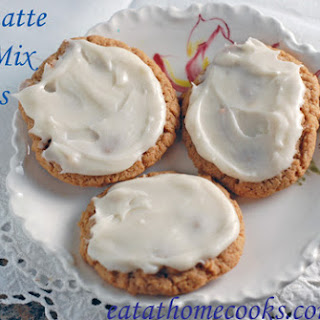 Spiced Chai Latte Cake Mix Cookies with Vanilla Cream Frosting.