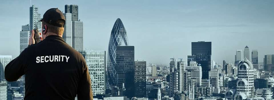 a security guard standing looking onto the london skyline