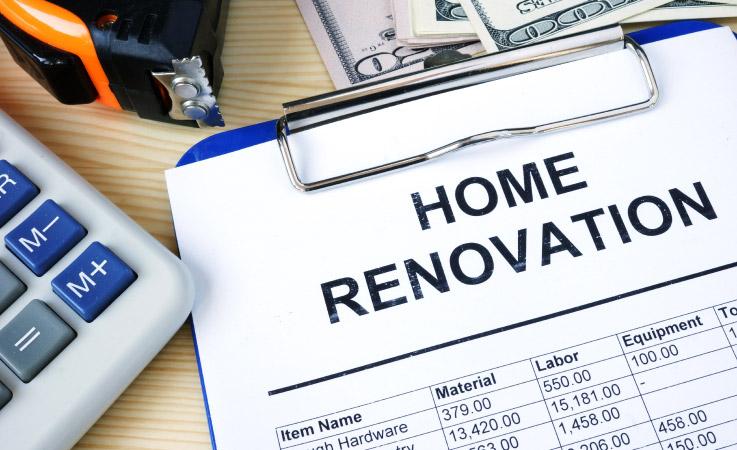 An itemized home renovation sheet