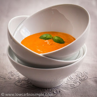 Appetizer Soup from Red Bell Pepper, Garlic and Basil.