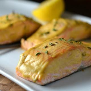 Baked Salmon with dijon + thyme sauce