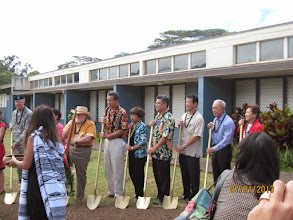 Photo: Kahu Patterson is blessing the groundbreaking area prior to all of us digging in and turning over the dirt.