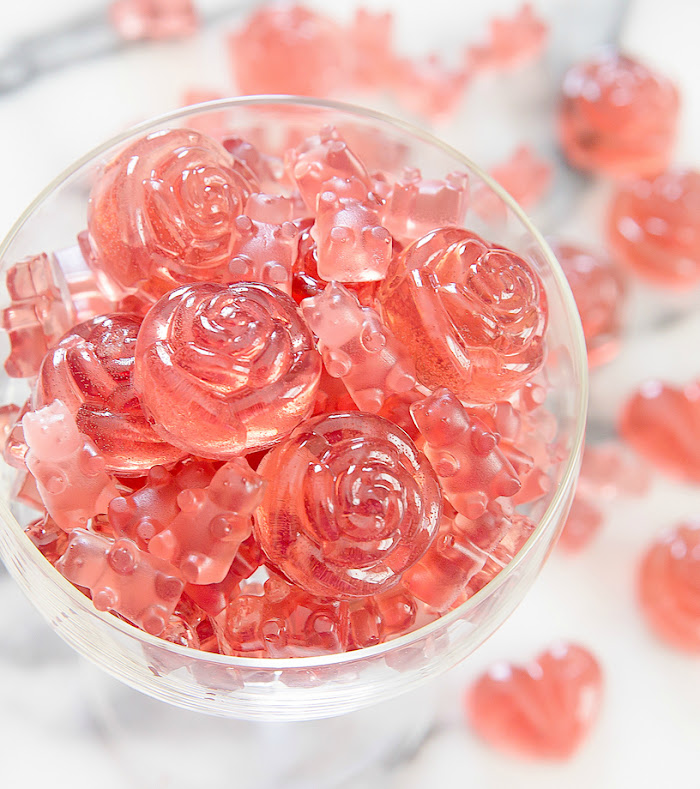 overhead photo of Rosé Champagne Gummy Bears