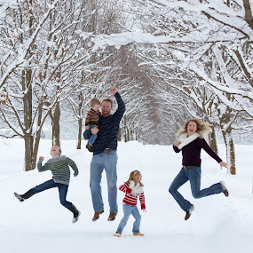 Jump for Joy by Craig Lybbert - People Family ( maple tree, cold, snow, greenbluff, play, lane, jump )