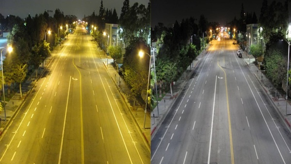 Light bulbs on the left, LEDs on the right. Photo: LA Bureau of Street Lighting.