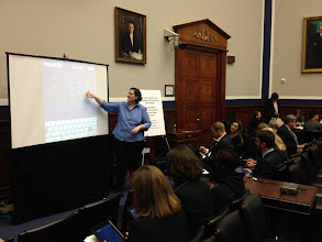 Photo: Mindy Johnson teaching the congressional staffers about variables and algebraic reasoning using CAST's iSolveIt apps (http://isolveit.cast.org/).