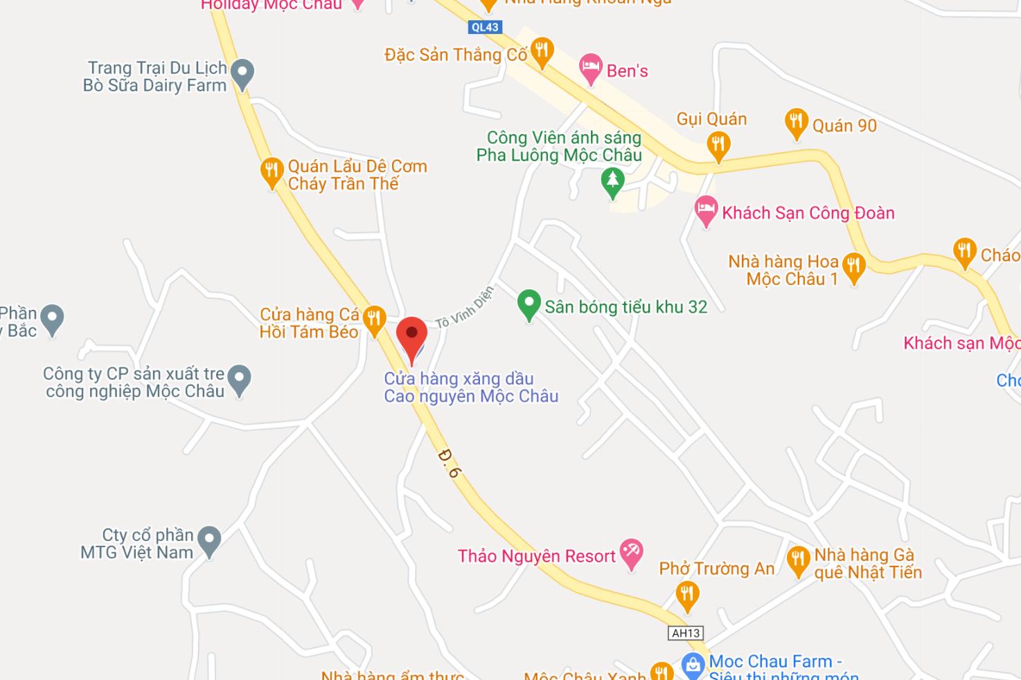 Địa điểm đón/trả khách tại Mộc Châu