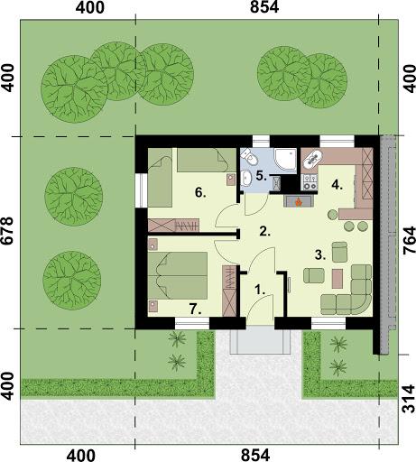 Lublana 2 C dom mieszkalny (zabudowa szeregowa) - Rzut parteru - segment A