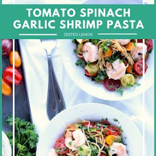 Tomato Spinach Garlic Shrimp Pasta.