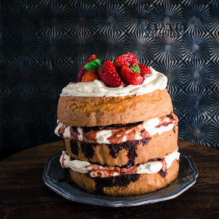 Victoria Sponge with balsamic glazed strawberries and basil