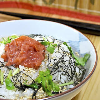 Ume ochazuke (rice soup with Japanese pickled plums).