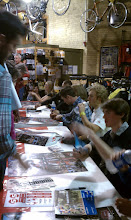 Photo: signing at mechanic's row bicycles  with mo bruno, ryan trebon, meredith miller, Jonathon page, cody kaiser, zack mcdonald